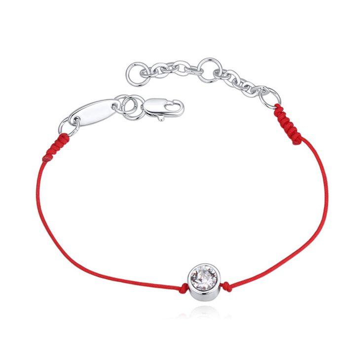 2色オーストリアのクリスタルジュエリー薄い赤い糸ストリングロープチャームブレスレット用女性ファッション夏スタイル