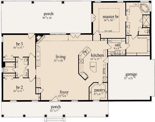 Split Bedrooms By Latasha Porch House Plans Affordable House Plans Basement House Plans