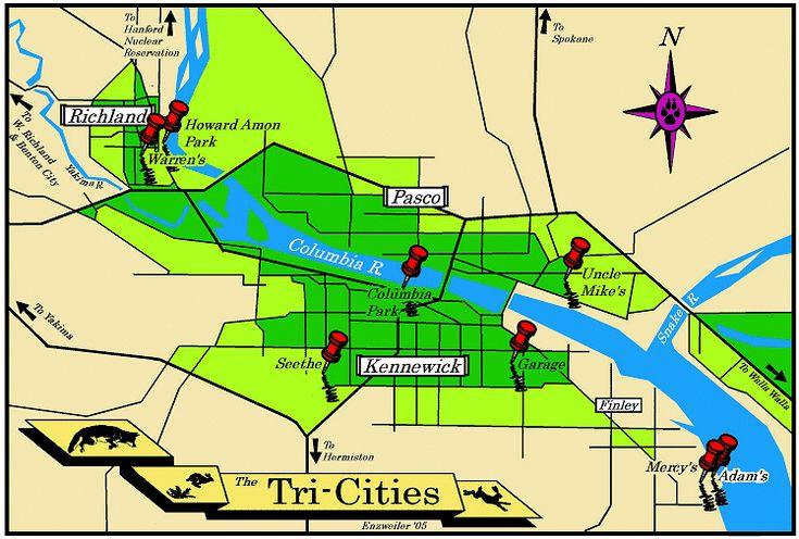 map of tri-cities | Tri-Cities Washington as per Patricia Biggs Mercedes Thompson books.