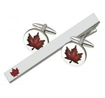 CUFFLINK  TIE BAR SET. These unique Canadian maple leaf cufflinks with tie bar can certainly make you feel patriotic! These high quality rhodium plated cufflinks/ tie bar has red enamel on top covered with clear protective layer on it. Cufflink Size: 19 mm round Tie Bar Size: 64 x 7 mm http://www.stunningselection.com/cufflink-tie-bar-set-1703