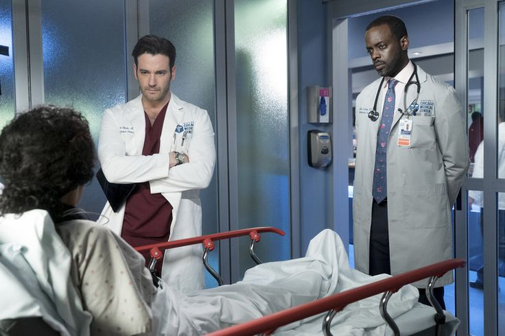 """Chicago Med - Season 2CHICAGO MED -- """"Heart Matters"""" Episode 210 -- Pictured: (l-r) Colin Donnell as Connor Rhodes, Ato Essandoh as Isidore Latham -- (Photo by: E…"""