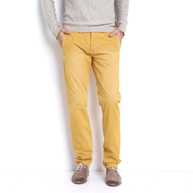 Active Wear | Straight Cut Chino Trousers in Yellow