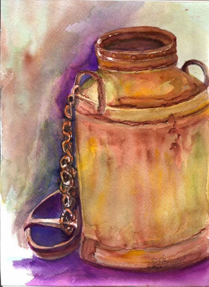 Country Farm Rusty Milk Can Watercolor 8.5x11.5 Art painting Penny Lee StewArt #Americana