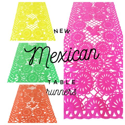 Mexican fabric Table Runner Papel Picado design Green - MesaChic - 2