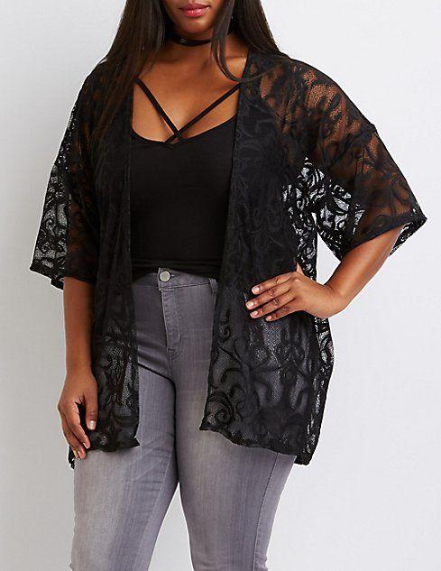 Plus Size Paisley Lace Kimono #charlotterusseplus