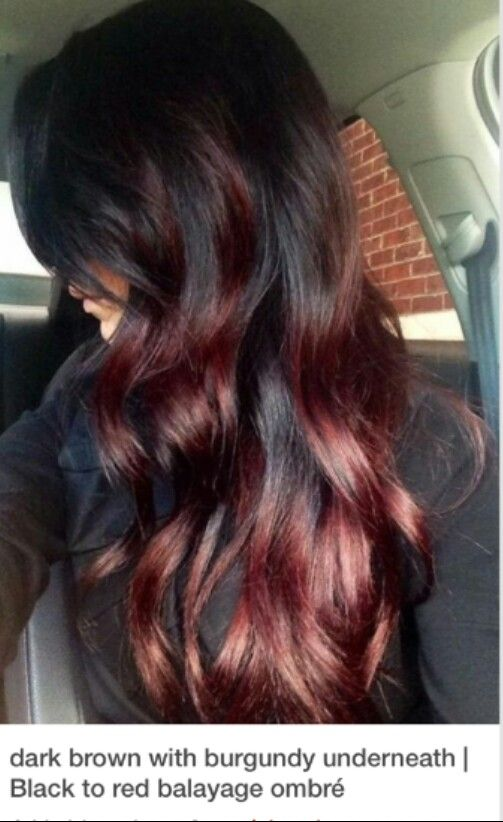 Dark brown with burgundy underneath 》black to red balayage ombre