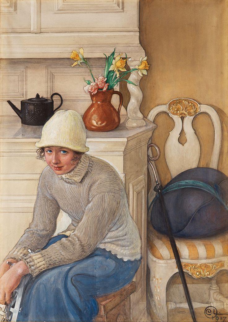 Girl With Ice Skates, 1917. Carl Larrson.