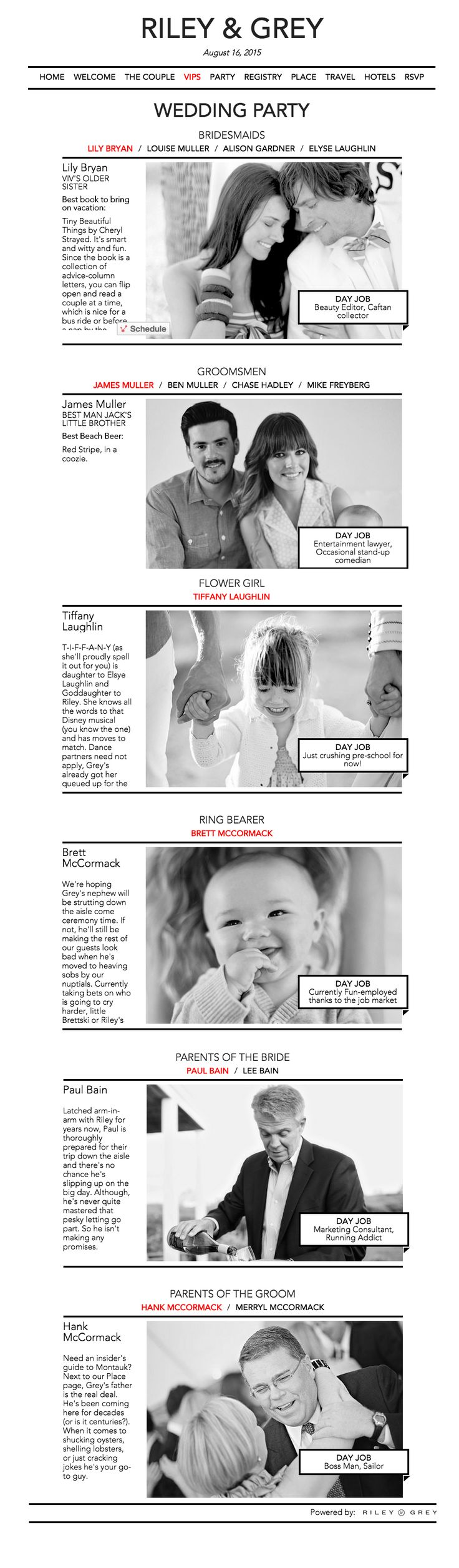 """Wedding party page in """"Crisp"""" wedding website design by Riley & Grey. Introduce your guest to your bridesmaids, groomsmen, parents, flower girls, and ring bearers with this simple and elegant design. Click to check out this and other   wedding website designs on R&G."""