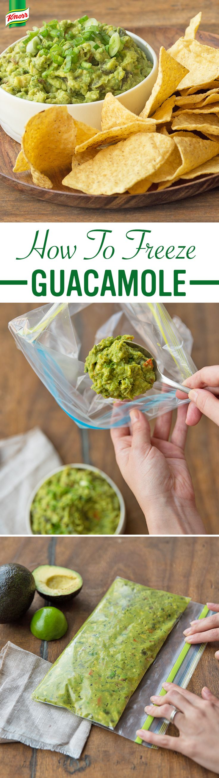 How to make freezer-guac for instant munchies?  1. Combine medium mashed avocados, a cup of coarsely chopped canned jalapeno peppers, tablespoons of fresh cilantro, lime juice, and a package of Knorr® Vegetable recipe mix in a small bowl 2. Spoon dip into a plastic bag, seal, and put in the freezer  3. Unfreeze, garnish with green onion, and serve with tortilla chips, your favorite dippers, or as a topping.