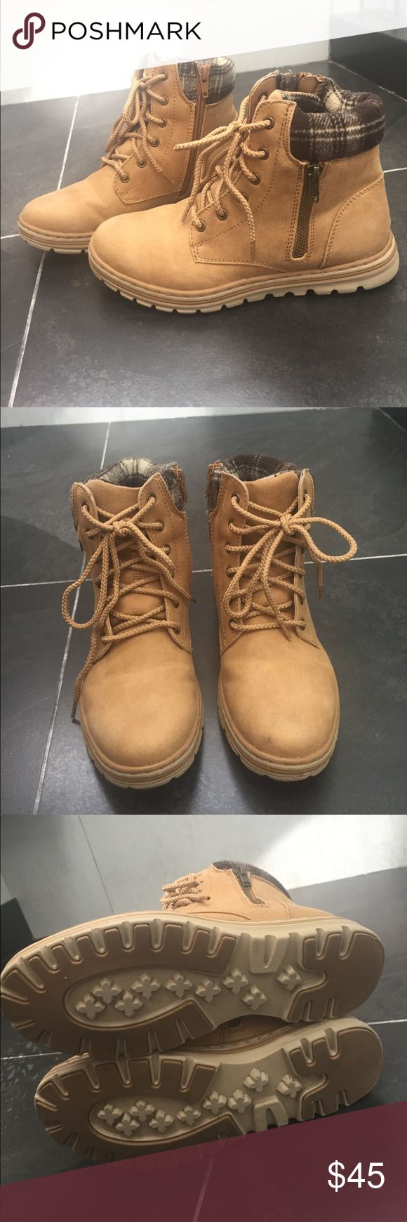 Timberland styled boots with plaid ankle design Timberland styled boots with plaid ankle design!! Extremely comfortable! Only worn twice, perfect condition aside from a little grey mark shown in the last picture. Reasonable offers accepted! white mountain Shoes Lace Up Boots