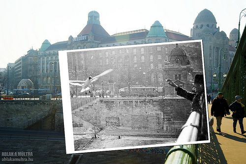 Hungarian photographer puts together past and present shots at same location.  Window to the past ---