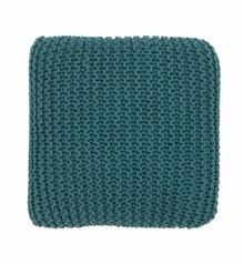 Ensfarvede strikkede puder (blå, grønne eller gule nuancer)