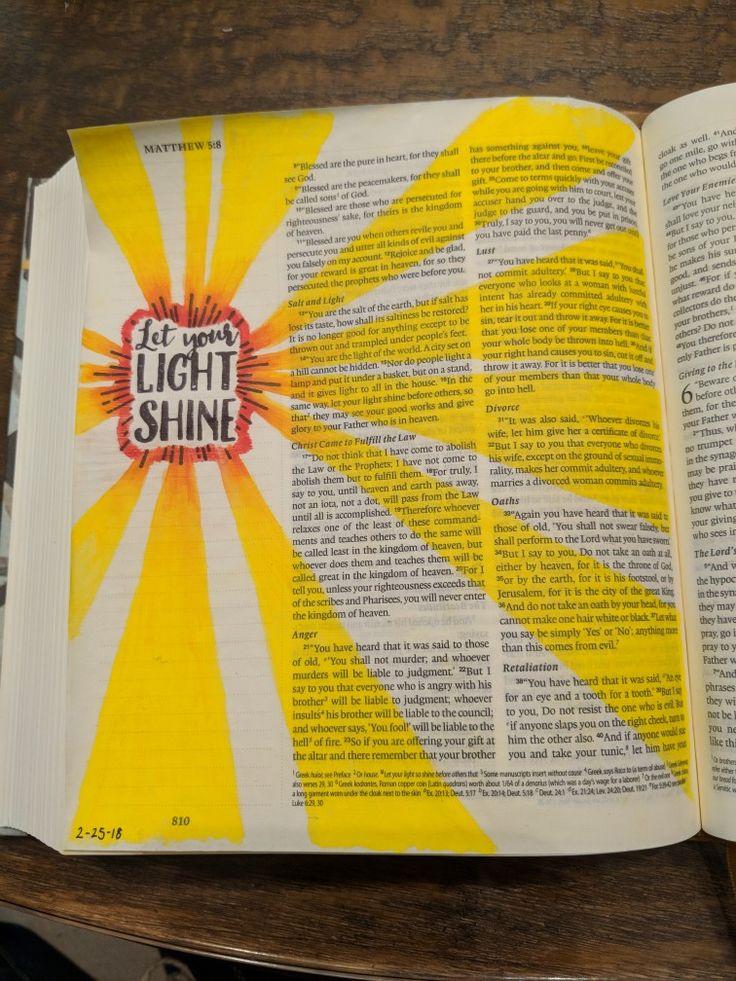 Matthew 5:16 easy beginner Bible Journaling , Inktense and stamp, let your light shine