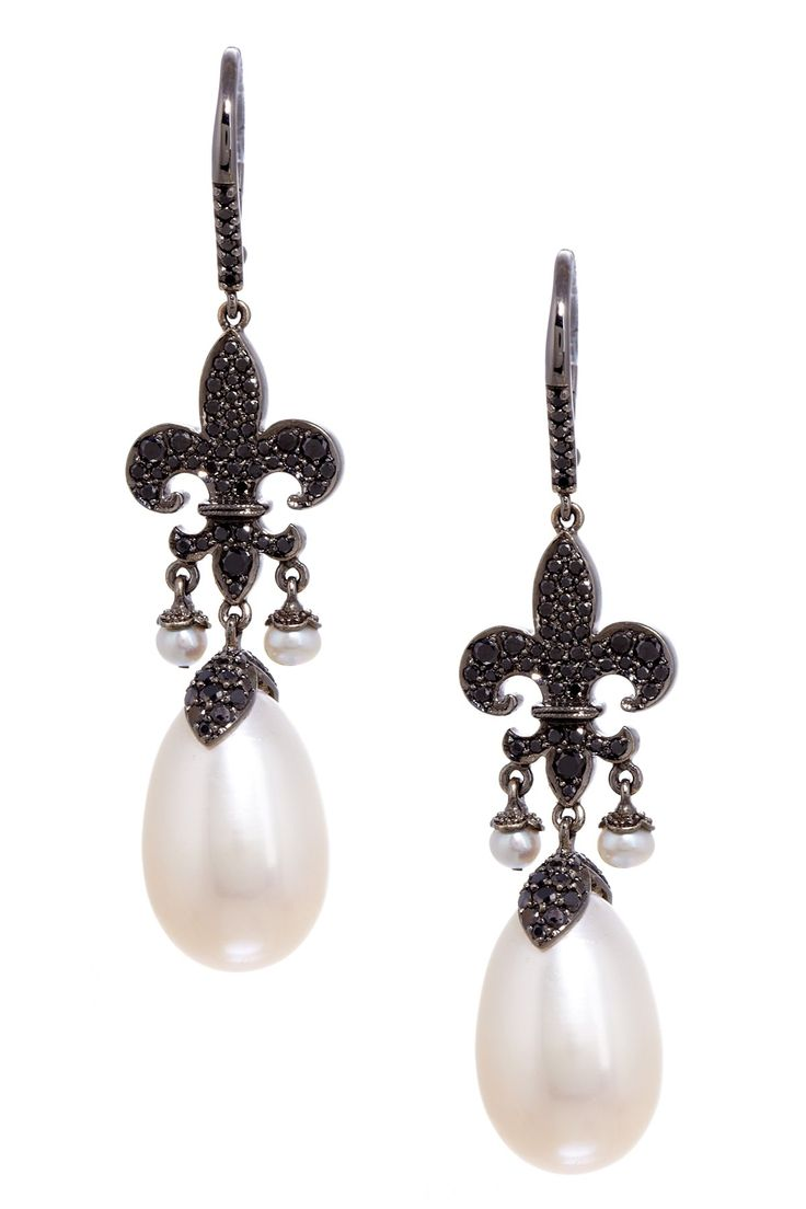 Rhonda Faber Green 18k Rhodium Plated And Black Diamond Pearl Earrings