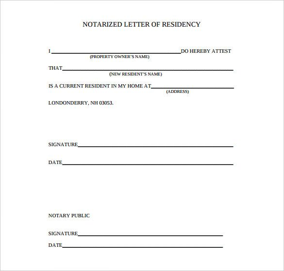 Proof Of Residency Letter Notarized Letter Template Word