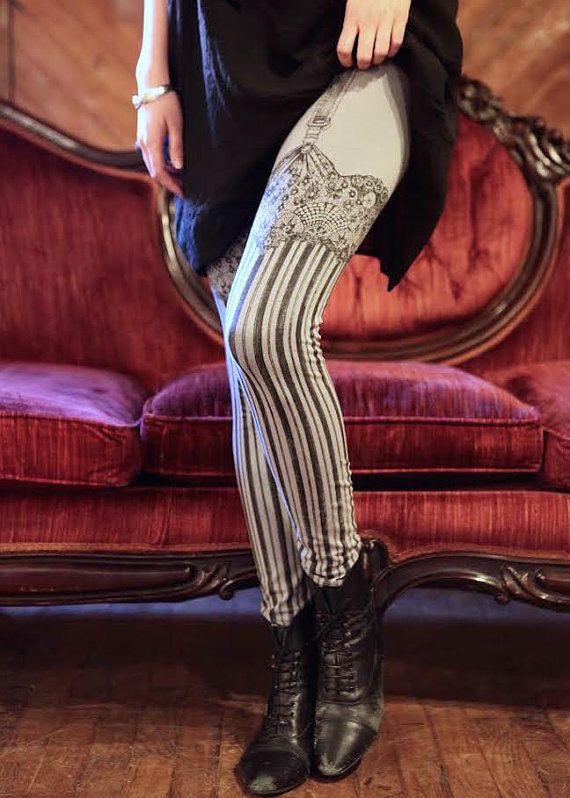 Burlesque Leggings Womens garter Legging GREY by Carouselink
