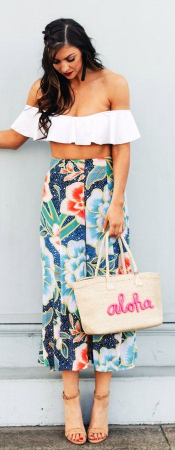 pretty spring outfits /  White Off Shoulder Cropped Top / Flower Print Maxi Skirt / Beige Tote Bag / Camel Sandals