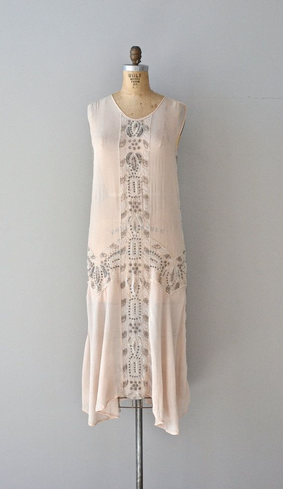 Delacroix silk dress 1920s beaded dress vintage by DearGolden