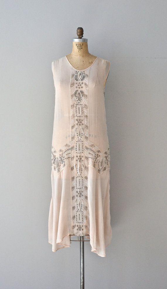 Delacroix silk dress 1920s beaded dress vintage by DearGolden