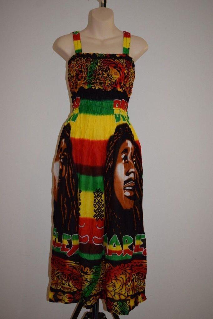 6528265d0a7a3 Bob Marley Dress rasta Hippie reggae boho Comfy Peasant BOB face one size  ladies