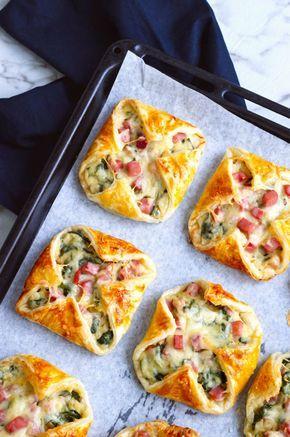 Blätterteigtaschen mit Schinken, Käse und Spinat