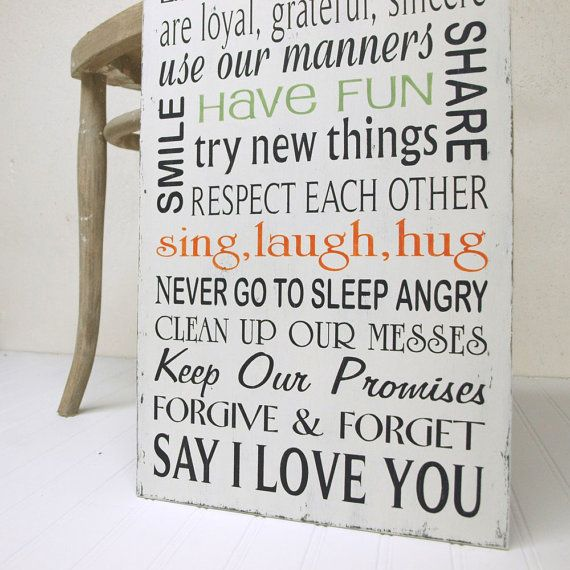 Family Rules Sign, In Our House We Choose Happiness Say I