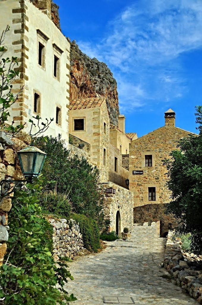 Monemvasia in Laconia located on a small island off the east coast of the Peloponnese, Greece