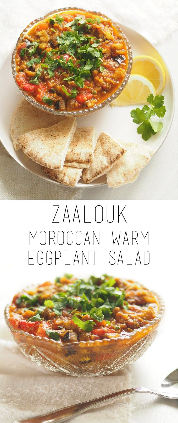 Zaalouk salad - Moroccan warm eggplant salad (vegan, gf). Also delicious as a dip with some pita bread.