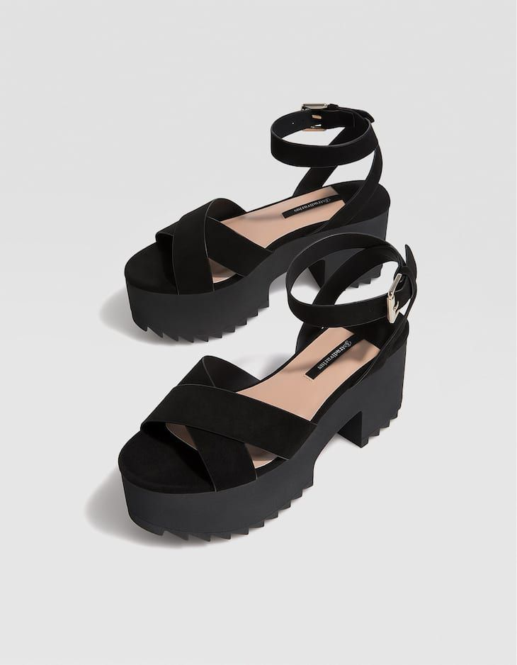 Tacón Sandalia Track Mujer Plataforma Zapatos Negra De eWI2ED9YH