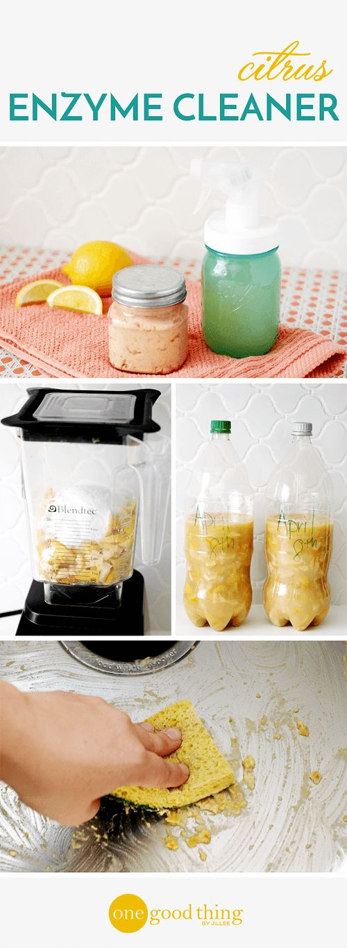 Citrus Enzyme Cleaner      300 g (or about 2 cups) lemon and/or orange scraps     100 g (or about 1/2 cup) brown sugar     1 teaspoon yeast     2-liter plastic bottle     1 liter water