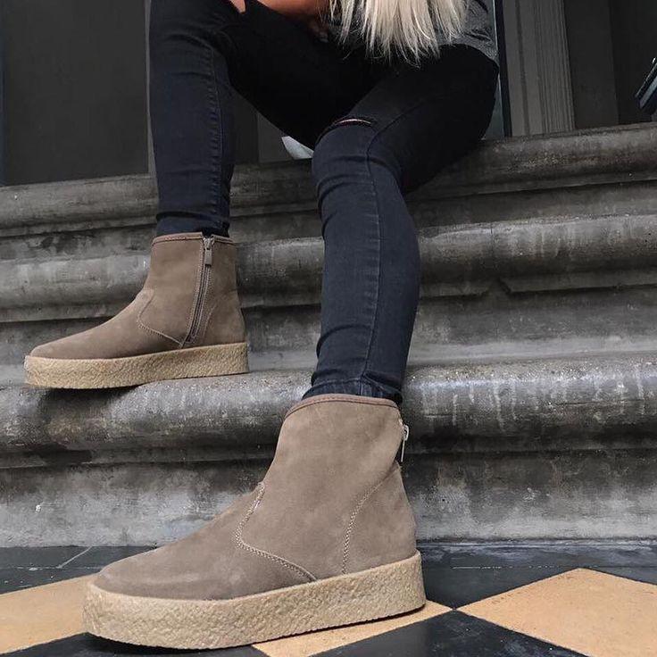 Vinterstøvle med høj gummisål og blødt for. Havanna Shoes.