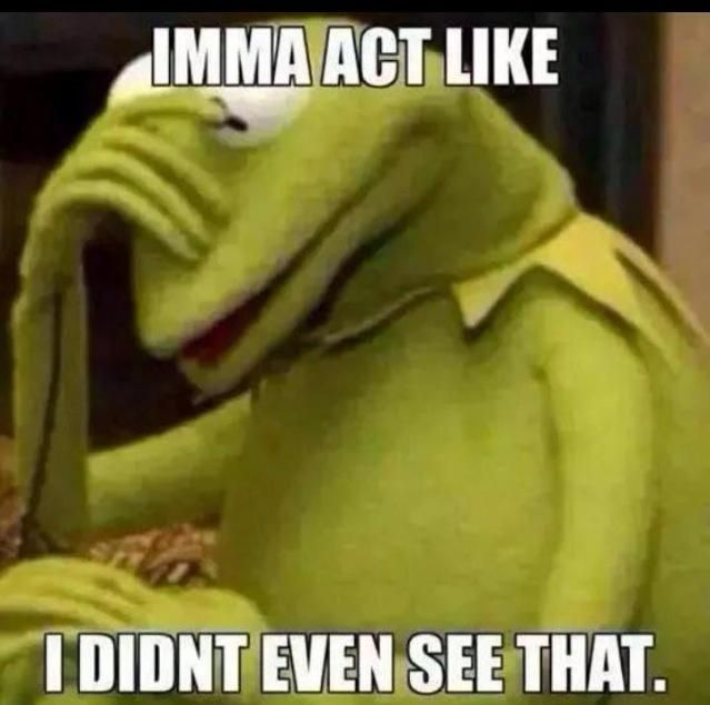 Kermit the Frog meme - Imma act like I didn't even see that.