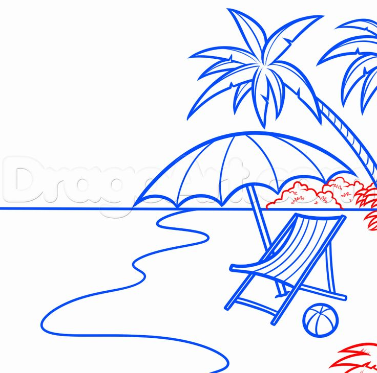 how to draw a beach scene step 14