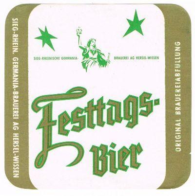 Germania Festbier - ein Pilsener Bier, das zur Weihnachtszeit gebraut wurde - mit etwas höherem Alkoholgehalt.