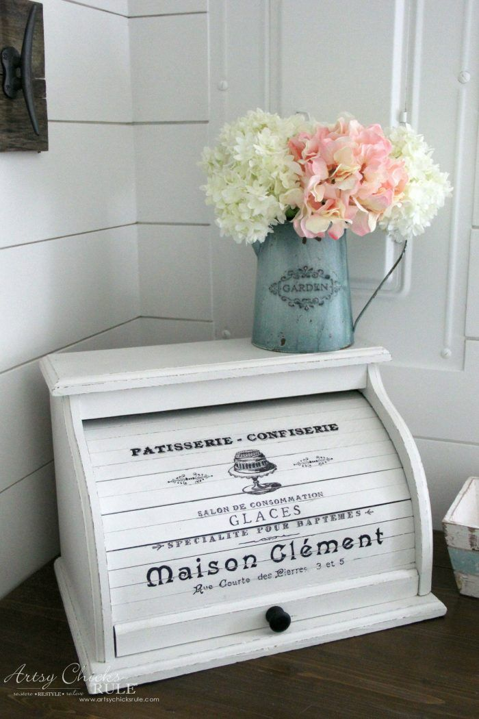French Farmhouse Bread Box EASY DIY with Paint and Markers! artsychicksrule.com