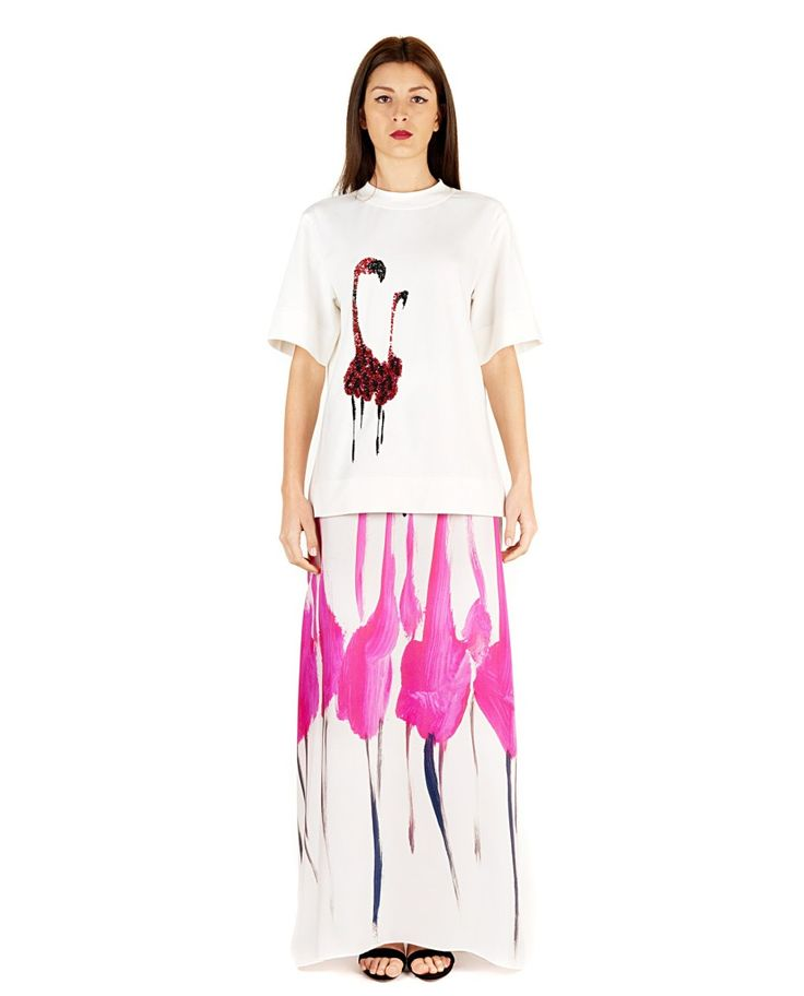 GILES White blouse  swan print round neckline short sleeves two side splits embroidered with sequins 96% CO 4% EA