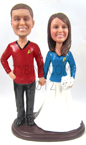 Star Trek Wedding Cake Toppers    @Robert Kellum, if we renewed our vows again, I'd put up with these ;)  LOL