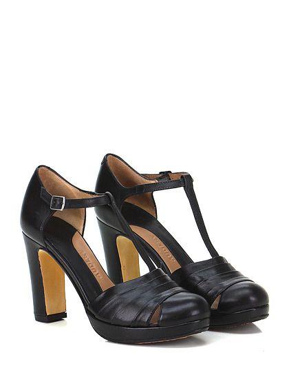 AUDLEY - Scarpa con tacco - Donna - Scarpa con tacco in pelle con cinturino su collo piede e tomaia lavorata. Suola in cuoio e gomma, tacco 95, platform 25 con battuta 70. - BLACK - € 189.00