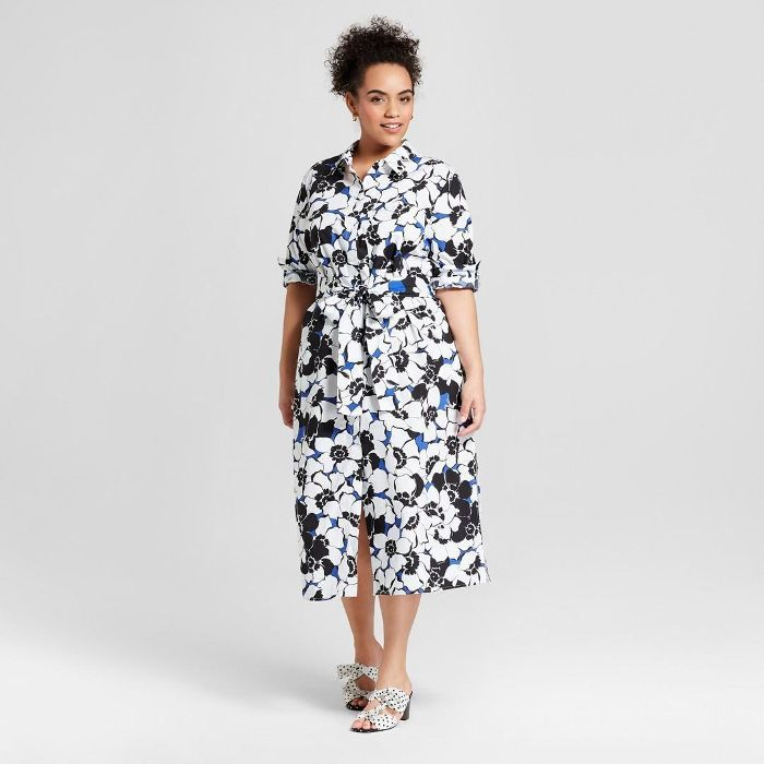 Plus Size Striped Long Sleeve Midi Shirt Dress | Long sleeve midi ...