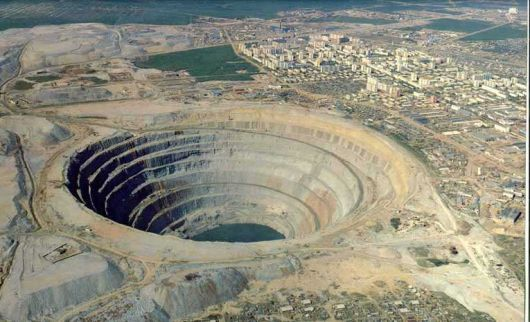 Mirny mine in Russia. Discovered in 1955, a year after the first diamonds were discovered in USSR. Open pit operation closed in 2001. Underground operation operation closed in 2011.