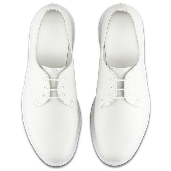 Leather 1461 Lace-up Oxford White ($115) ❤ liked on Polyvore featuring shoes, oxfords, genuine leather shoes, leather lace up shoes, real leather shoes, white oxford shoes and white shoes