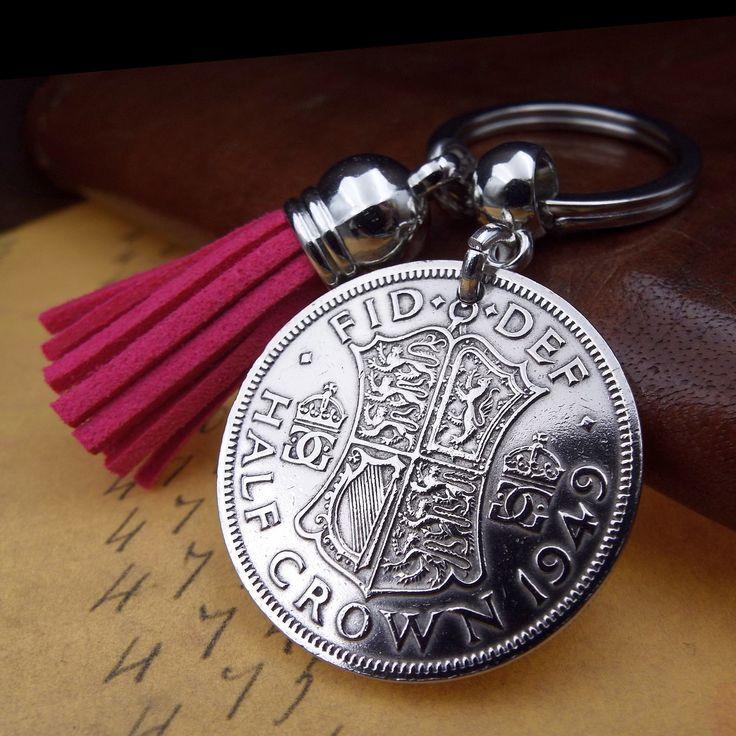 1949 uk half crown coin hot pink tassel keychain 70th