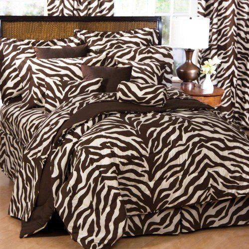 "Zebra Bed in a Bag - Brown/Tan (King) by Karin Maki. $142.42. Sheets will fit Mattresses Up to 13 "" Thick. Brown and Tan Zebra Bedding Set - King Size. Machine Wash. Oversize commercial washer for comforter.. 50% Polyester, 50% Cotton. 180 Thread Count. All Components are Black  White Zebra Print.. Bed in a Bag includes Comforter Set + Sheet Set: (1) comforter, (1) bedskirt, (2) shams, (1) flat sheet, (1) fitted sheet, and (2) pillowcases. Brown Zebra Bedding ..."