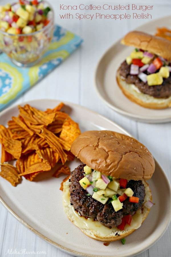 Kona Coffee Crusted Burger with Spicy Pineapple Relish - flavorful homemade kona coffee rub crusts a juicy burger and accented with spicy pineapple relish and nestled in a sweet Hawaiian bun | Aloha Flavor