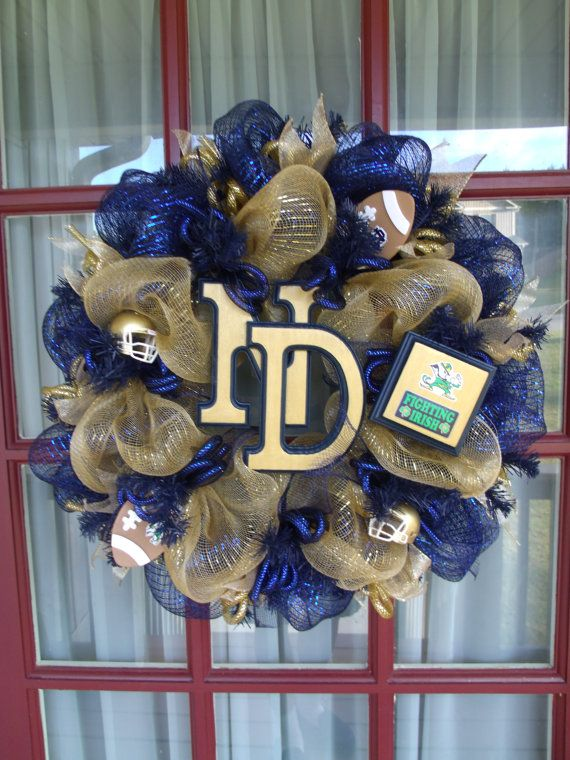 Notre Dame Gols and Navy College Football Deco by Crazyboutdeco, $99.00 #Crazyboutdeco @crazyboutdeco