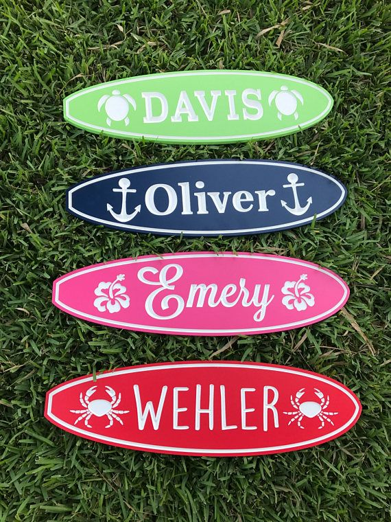 Personalized Surfboard Sign // Custom Surfboard Sign //