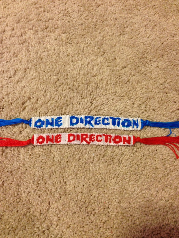 One Direction Bracelets! I can make these in any colors, so if your interested please contact me!  These bracelets are for sale, $9  Kik: Horsegirl_22 Email: abby.hauser.22@gmail.com