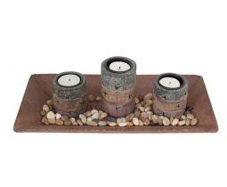 Wooden Trio Tea Light Holder