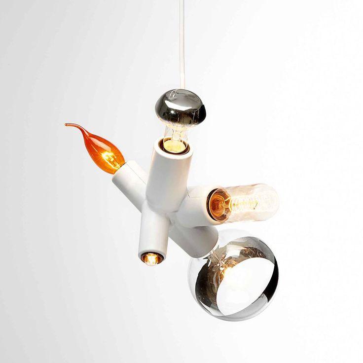 CLUSTER - Suspension 5 Lumières avec Ampoules décoratives Blanc L19cm Moooi