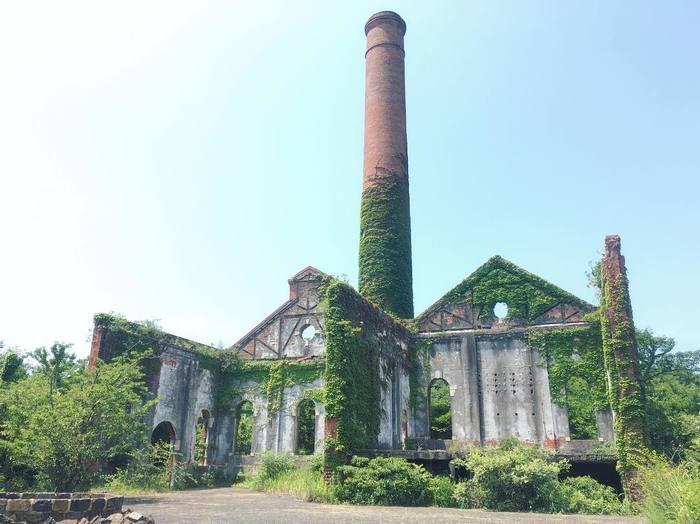 敷地内をずっと歩いて行くと精錬所の発電所跡に着きます。精錬所が現役だった頃は実際に稼働していました。これも作品の1つです。朽ちた建物、絡みついた蔦など、廃れたものに魅かれるという方にはたまらない景色ではないでしょうか。